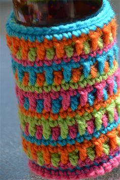 Jewel Colours Crocheted Stubbie Cooler/Bottle Cosy/Koozie
