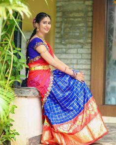 Engagement Photos  @prasadpoloju @ravalivuppula Pattu Saree Blouse Designs, Half Saree Designs, Saree Blouse Patterns, Bridal Blouse Designs, Lehenga Designs, Half Saree Lehenga, Lehenga Choli Online, Saree Dress, Bridal Silk Saree