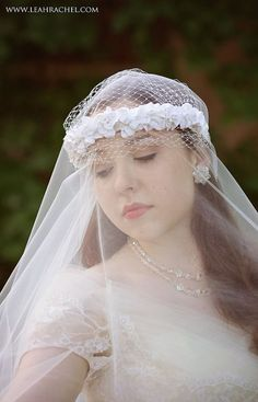 Ivory Floral Headpiece with Tulle Veil by RubyandCordelias on Etsy, $130.00