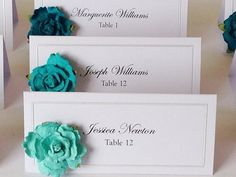 WEDDING name cardsblue ombre flower Set of 100 by AudandEl on Etsy