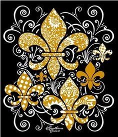 Golden Coat Of Arms, Mardi Gras, Decoupage, Black And White Quilts, Who Dat, Leis, New Orleans Saints, Beautiful, Decoration