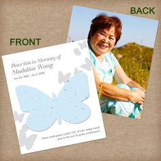 Beautiful butterfly plantable photo cards. Capture the spirit of your loved one by adding your favorite photo to these plantable cards. When you plant the butterfly, beautiful wildflowers grow in their memory. #funeralgifts, #funeralfavors, #photomemorialcards, #growcards, #plantablebutterflycards