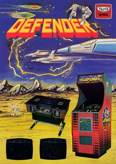 The Arcade Flyer Archive - Video Game Flyers: Defender, Taito Vintage Video Games, Classic Video Games, Retro Video Games, Vintage Games, Retro Games, Retro Arcade, First Video Game, Video Game Art, Game Boy