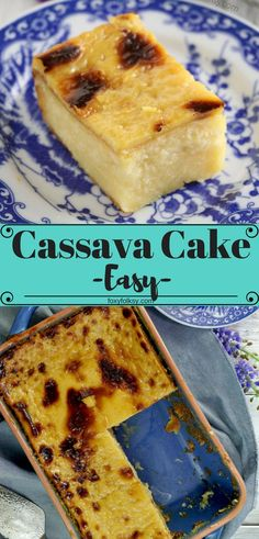 Cassava cake is a Filipino dessert made from manioc (cassava). Here is a recipe that really easy to make and with deliciously rich and creamy custard topping. A perfect dessert for special occasions but also great for coffee or tea time. | www.foxyfolksy.com #cassava #cake #desserts #filipinofood #filipinorecipe