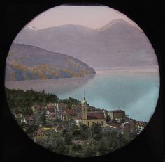 HAND COLOURED Glass Magic Lantern Slide VITZNAU FROM RAILWAY C1890 SWITZERLAND