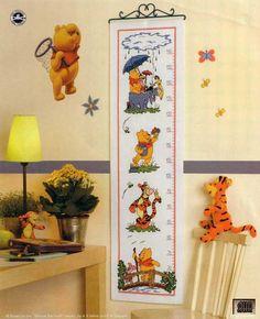 Pooh and friends growth chart 1 Cross Stitch Boards, Cross Stitch For Kids, Just Cross Stitch, Cross Stitch Baby, Cross Stitching, Cross Stitch Embroidery, Cross Stitch Patterns, Height Chart, Xmas Stockings