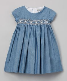 Les Petits Soleils by Fantaisie Kids Navy Blue Denim Smocked Dress - Infant & Toddler | zulily