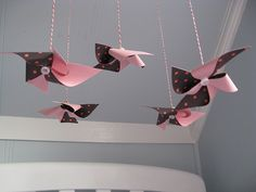 Hanging pinwheels from ceiling