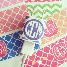 DIY printable monogrammed stickers and instructions (to change letters in monogram) for monogrammed charging adapter