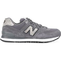 New Balance 574 sneakers ($102) ❤ liked on Polyvore featuring shoes, sneakers, grey, new balance shoes, metallic sneakers, round toe sneakers, grey sneakers and new balance
