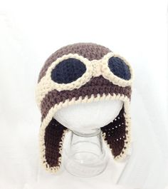 Crocheted baby aviator hat by BitsOfFiber on Etsy, $27.00