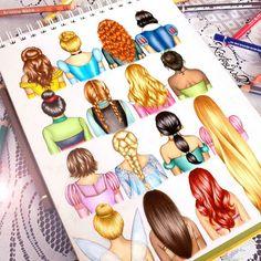 Disney hair drawn by the amazing Kristina Webb