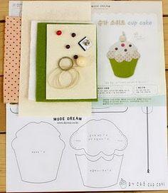 Moldes Para Artesanato em Tecido: Cupcake com Molde de feltro