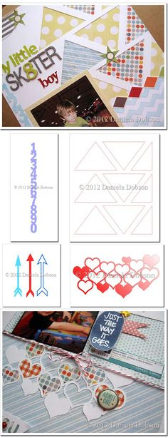 4 free fantastic cut files from Daniela Dobson: triangles; numbers; arrows; and heart lattice.