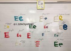 E sesi etkinliği Harflerimizi bir de oyun hamuruyla tahtaya yazmaya çalıştık. We tried to write the letter that we just learnt with the play dough as well! So fun! Play Dough, Bullet Journal, Math Equations, Lettering, Writing, Learning, Fun, Studying, Drawing Letters