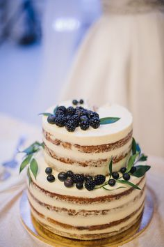 two tiered naked cake with dark blue accents.... love this, but want blue velvet barely frosted cake with blueberries!