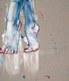 Great sketch with chalk pastels idea - feet! Art Et Illustration, Illustrations, Figure Drawing, Painting & Drawing, Painting Inspiration, Art Inspo, Kunst Online, Art Brut, Ouvrages D'art