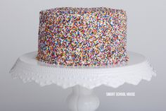Rainbow sprinkle cake. The BEST rainbow cakes! Including recipes & decorating ideas! I love how they all look!