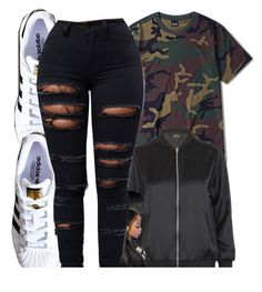 """""""$$$"""" by xbad-gyalx ❤ liked on Polyvore featuring Topshop and adidas"""