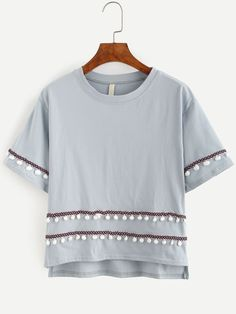 Shop Grey Embroidered Tape Detail Pom Pom T-shirt online. SheIn offers Grey Embroidered Tape Detail Pom Pom T-shirt & more to fit your fashionable needs.
