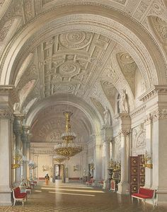 Interiors of the Winter Palace. The White Hall, St. Petersburg.