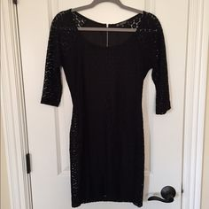 Black Quarter sleeved tight crocheted dress Only worn twice. Excellent condition! Super cute and form fitting in all the right places. Size M. BeBop Dresses Mini