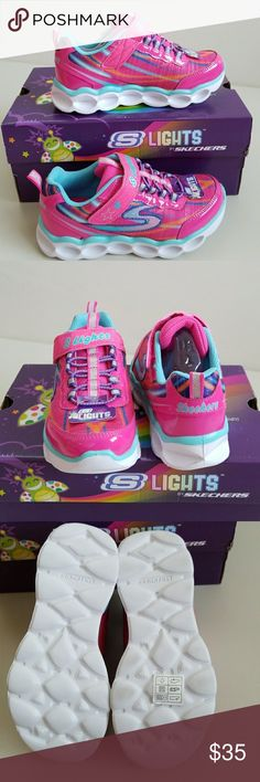 NWT Girl's Skechers Lights New super pretty lightes footwear. Cushy foot bed for added comfort. Stretchy cord and velcro for easy on and off no fussing with cords. Skechers Shoes Sneakers