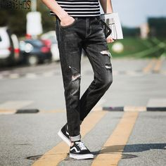 31.71$  Watch now - http://alieqs.shopchina.info/go.php?t=32809281682 - HBS Street Do Old Holes Skinny casual Jeans Men Feet Ripped Jeans Man Joggers Trousers Casual Calca Jeans Masculina Ripped jeans  #buyonline