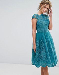 Chi Chi London Premium Lace Midi Dress - Green