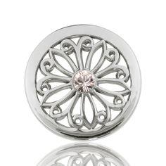 Oriental Flower Clear Swarovski Crystal in Silver