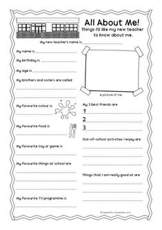New teacher 'all about me' pupil information sheet. For a new school year. All About Me Printable, All About Me Worksheet, All About Me Preschool, All About Me Activities, Preschool Activities, Student Information Sheet, School Information, 1st Day Of School, Beginning Of School