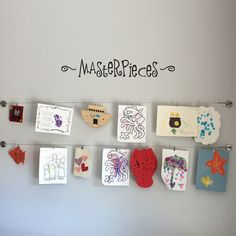 Masterpieces Wall Decal Medium - Children Artwork Decal. $16.00, via Etsy.  Such a great idea!