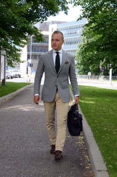 Grey jacket - beige trousers