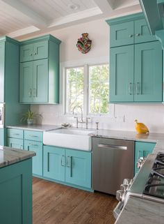 """Turquoise kitchen cabinets with white farmhouse sink // Sherwin-Williams """"Comp. Turquoise kitchen cabinets with white farmhouse sink // Sherwin-Williams """"Composed"""" SW 6472 Turquoise Kitchen Cabinets, Rustic Kitchen Design, Farmhouse Kitchen Cabinets, Shabby Chic Kitchen, Painting Kitchen Cabinets, Kitchen Cabinet Design, Kitchen Paint, New Kitchen, Teal Cabinets"""