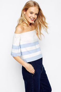 The Best Summer Clothing To Show Off Your Favorite Features #refinery29  http://www.refinery29.com/flattering-summer-clothes#slide-2  This off-the-shoulder top comes with an elasticated neckline to ensure the most comfortable fit. The breezy silhouette, lightweight fabric, and summery stripes make this a no-brainer for your seasonal wardrobe.