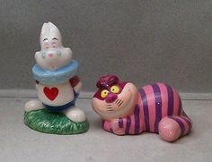 DISNEY-ALICE-IN-WONDERLAND-CHESHIRE-CAT-RABBIT-SALT-amp-PEPPER-SHAKERS-VI-1A-D-416