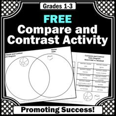 FREE Compare and Contrast Graphic Organizer, Venn Diagram Writing Worksheets Leveled Reading Passages, Reading Comprehension Passages, Speech Activities, Writing Activities, Venn Diagram Worksheet, Literacy Worksheets, 3rd Grade Reading, Compare And Contrast, Cut And Paste