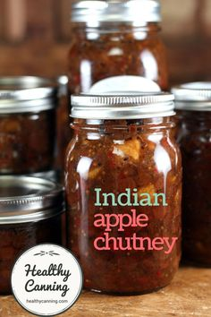 Indian Apple Chutney. This is a traditional dark, thick, rich chunky sweet and sour chutney that is both strong and hot.  Use as an accompaniment to curries, rice, lamb, cheese with crusty breads, etc. Mix some into fat-free sour cream or fat-free yoghurt for a quick, healthy dip, or mix some into low-fat cream cheese for a delicious spread on celery sticks or crackers of your choice. Sugar-free and salt-free  #canning.