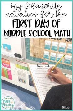 Planning the first day of school can be stressful! Learn my 3 favorite activitie… Planning the first day of school can be stressful! Learn my 3 favorite activities that will allow you to have the perfect first day of middle school math! Middle School Classroom, Middle School Science, High School, 1st Day Of School, Future Classroom, Google Classroom, Anchor Charts, Escape Room, Math Classroom Decorations