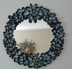 Coastal Shores Blue Mussel Shell Mirror by on EtsyThis stunning mirror has lots of blue mussel shells that I found along the beautiful, rocky beaches of Maine. Each mussel shell is carefullyawww darn, I just ate mussels the other night. Seashell Art, Seashell Crafts, Beach Crafts, Blue Mussel, Shell Wreath, Coastal Christmas, Driftwood Art, Driftwood Projects, Mussels