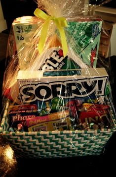 20 Unique DIY Gift Baskets That Are Super Easy To Make - Forever Free By Any Means Christmas gifts for couples… Visit the website… Family Gift Baskets, Best Gift Baskets, Themed Gift Baskets, Basket Gift, Raffle Baskets, Gift Baskets For Kids, Game Basket, Easter Baskets, Fundraiser Baskets