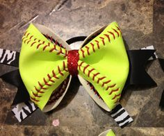 Softball bow made of a real softball by SportyChickBowtique, $10.00