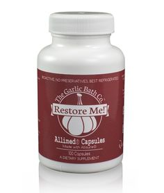 """Restore Me! - Allimed® Capsules provide 100% yield of Allicin (garlic's active component), designed for rapid absorption into your body. Restore Me!™ is a one-a-day solution for heath and wellness.  HOW TO USE: One (1) Restore Me!™ Allimed Capsule, three (3) times daily or as directed by your healthcare practitioner.  INGREDIENTS: -Allisure® Allicn Powder 450mg (100% Yield Stabalized Allicin) -Capsugel vegetarian size """"0"""" capsule."""