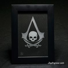 Assassins Creed - Black Flag Pirates Framed Hand Engraved Glass Engraving by JayEngrave Assassins Creed Black Flag, Assassins Creed Game, Glass Engraving, Hand Engraving, Game Black, Frame Sizes, Black Fabric, Pirates, Initials