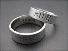 You're Mine, I'm Yours Rings - Sterling Silver Promise Ring/Wedding Band Set - 1.5mm. $142.00, via Etsy.