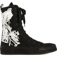 Ann Demeulemeester Flower Hi-Top Sneakers (16225 TWD) ❤ liked on Polyvore featuring shoes, sneakers, black, black hi top sneakers, black hi tops, black high top shoes, hi tops and black suede shoes