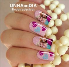 Adesivo de Unha - Elsa e Anna PER79 | Unha do Dia - Adesivos de unhas | Elo7