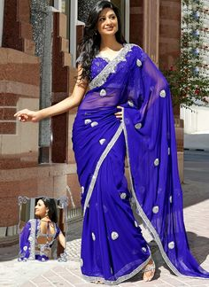 Opulent Blue Pure Georgette Embroidered Saree