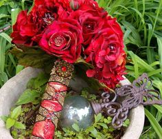 Blood Red Roses Medieval Bouquet by whiteriver51 on Etsy, $450.00