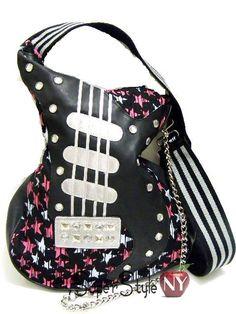 Black Stars Guitar Shaped Purse Shoulder Bag Gothic Punk Pock